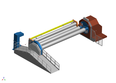 Graphic of the new high-performance film winder of ANDRITZ Biax: The special contact roll set-up ensures high winding quality, even at high speeds of up to 600 m/min for winding widths from 8.7 m (Copyright: ANDRITZ)
