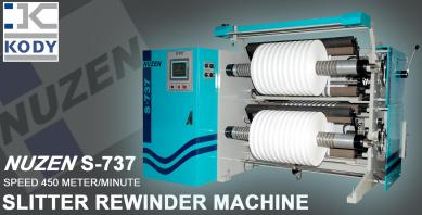 KODY SLITTER REWINDER MACHINE NUZEN S-737 PRESENTING LIVE DEMONSTRATION AT K SHOW 2013 GERMANY