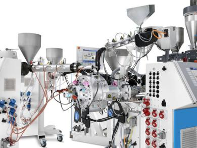 KraussMaffei Berstorff singe-screw extruder combination with 5-layer pipe head 5L RKW 31 – 40
