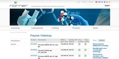 View of the polymer web shop page at www.norner.no