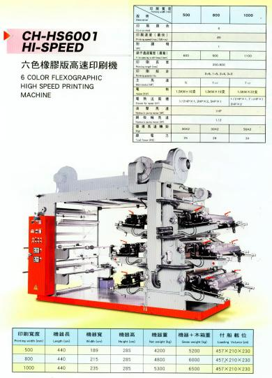 6 COLOR FLEXOGRAPHIC HIGH SPEED PRINTING MACHINE