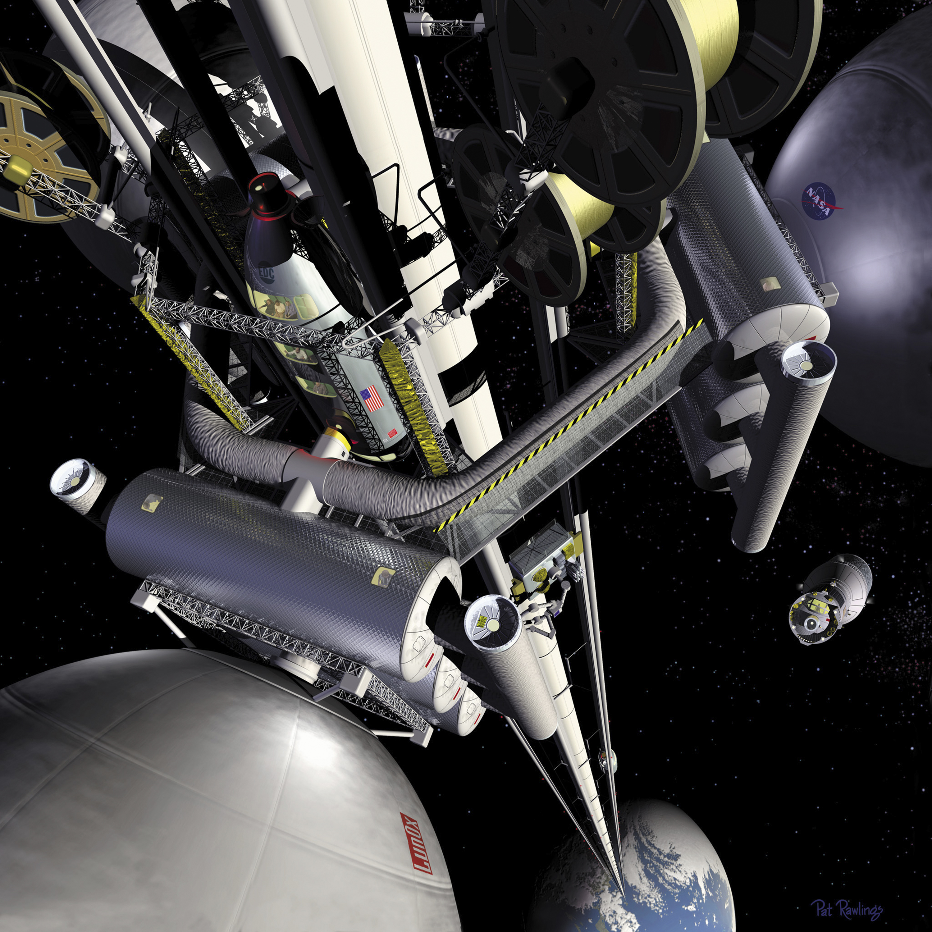 Artificial representation of a space elevator. Source: NASA