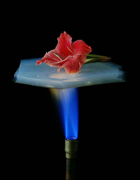 A demonstration of aerogel's insulation propert. Source:NASA