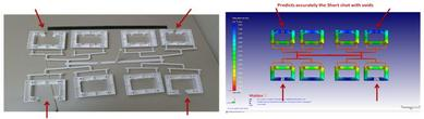 The result from Moldex3D was correspondent with the actual parts as shown above.